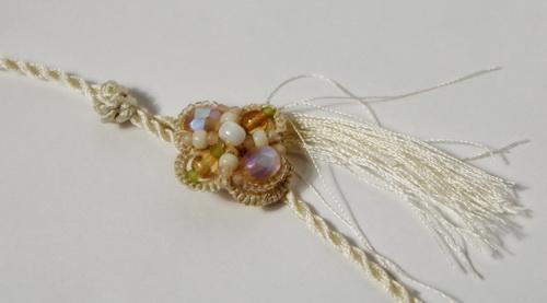Свадебное колье из бисера и жемчуга - анкарс, фриволите