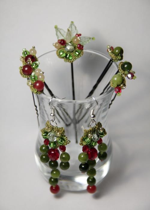 Браслет, серьги, шпильки - набор украшений ручной работы - фото и работа Дарины Никоновой