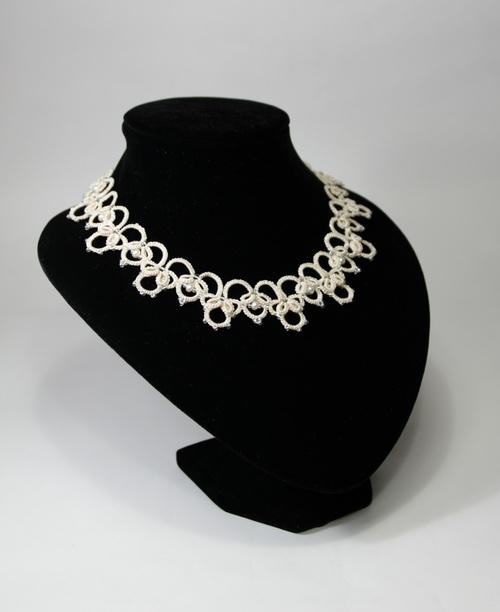 Свадебное ожерелье для невесты из бисера и жемчуга - анкарс, фриволите с бисером