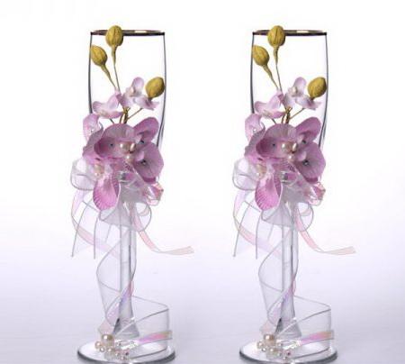 Украшение свадебных бокалов орхидеей - как сделать