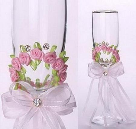 Свадебные бокалы с розами и стразами - мастер-класс